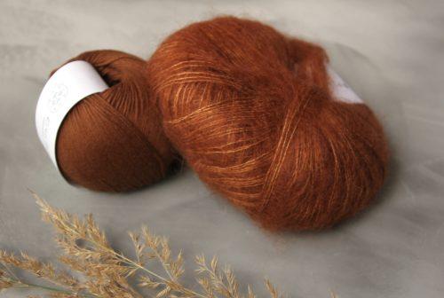 Krea Deluxe Organic Cotton värissä 52, Knitting for Olive Soft Silk Mohair värissä Copper
